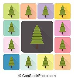 komplet, illustration., kolor, drzewa, wektor, boże narodzenie, ikona