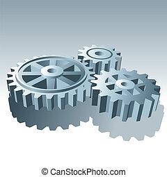 komplet, illustration., metal, wektor, gears., działanie