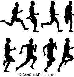 komplet, illustration., silhouettes., men., wektor, biegacze...