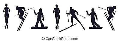 komplet, illustration., sports., odizolowany, sylwetka, wektor, athletes., atleci, zima