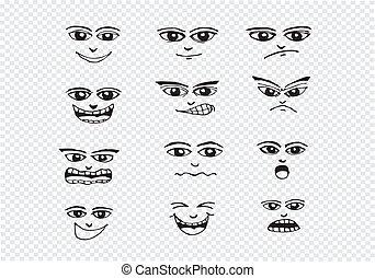 komplet, ilustracja, ręka, twarze, rysunek, rysunek