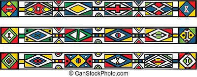 komplet, -, ilustracja, tradycyjny, wzory, wektor, afrykanin...