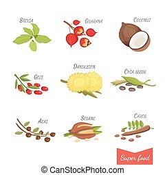 komplet, ilustracja, twój, wektor, superfoods., rysunek, design.