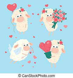 komplet, ilustracja, wektor, jagnię, rysunek, sprytny, valentine, day., st.