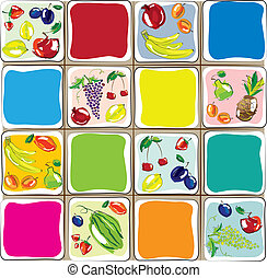 komplet, -, ilustracja, wektor, projektować, fruits., ...