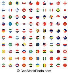 komplet, -, ilustrowany, bandery, świat, okrągły