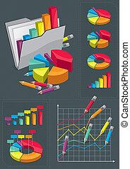 komplet, infographic, -, wykresy, barwny