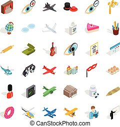 komplet, isometric, okupacja, styl, ikony