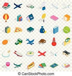 komplet, isometric, styl, mnóstwo, ikony