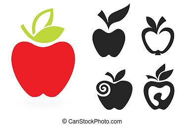 komplet, jabłko, odizolowany, ilustracja, tło., wektor, biały, ikona