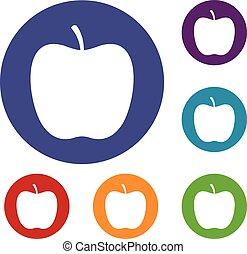 komplet, jabłko, połyskujący, ikony
