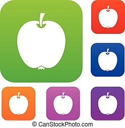 komplet, jabłko, zbiór