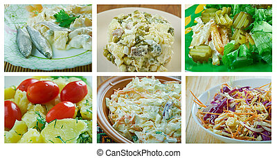 komplet, jadło, sałata, zdrowy
