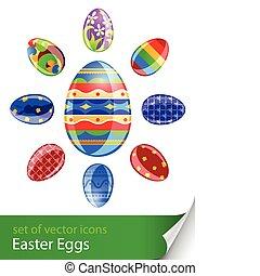 komplet, jaja, odizolowany, ilustracja, wektor, tło, biały, wielkanoc