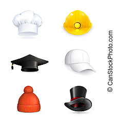 komplet, kapelusze, wektor