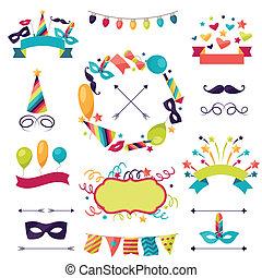 komplet, karnawał, ikony, ozdoby, objects., celebrowanie