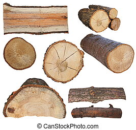 komplet, kloc ogień, odizolowany, drewno, biały