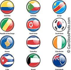 komplet, koło, ikona, bandery, od, świat, monarcha, states.,...