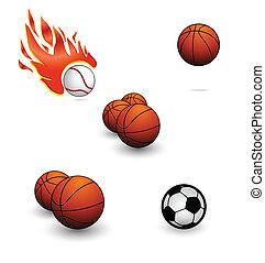 komplet, kolor, abstrakcyjny, piłki, pomarańcza, sport