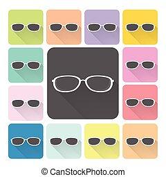 komplet, kolor, ilustracja, wektor, okulary, ikona