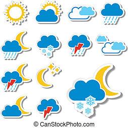 komplet, kolor, -, symbol, znak, wektor, pogoda, majchry, ikona