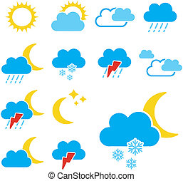 komplet, kolor, -, symbolika, znak, wektor, pogoda, ikona