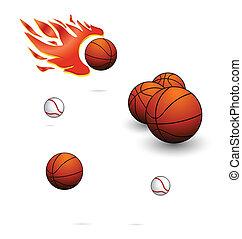 komplet, kolor, znak, piłki, pomarańcza, sport