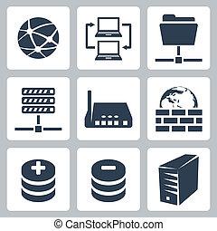 komplet, komputerowa sieć, ikony, odizolowany, wektor