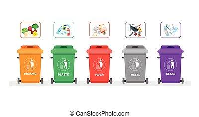 komplet, kontener, sortowanie, asenizacyjne zgromadzenie, pojęcie, śmieci, recycle logo, tracić, ikona