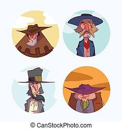 komplet, kowboj, barwny, ilustracje, portret