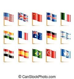 komplet, kraje, ikony, wektor, bandery, świat