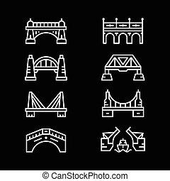 komplet, kreska, ikony, od, mosty