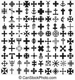 komplet, krzyże, wektor