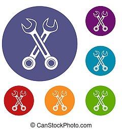 komplet, krzyżowany, spanners, ikony