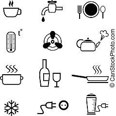 komplet, kuchnia, ikony