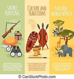 komplet, kultura, chorągwie, pionowy, afrykanin, płaski