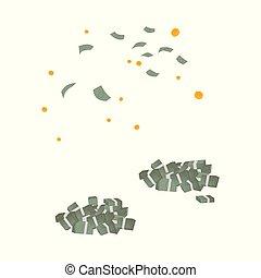 komplet, kupy, dolar, pieniądze, wektor, spadanie