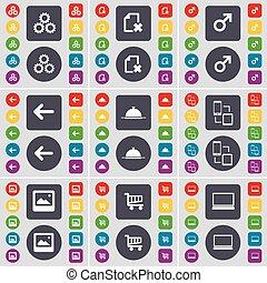 komplet, laptop, lewa strona, twój, design., płaski, przybory, pikolak, mars, rząd, taca, zakupy, okno, symbol., połączenie, symbol, ikona, barwny, wielki, wektor, strzała, wóz