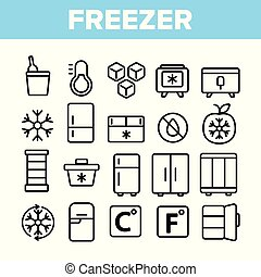 komplet, linearny, ikony, przyrząd, chłodzenie, wektor, zamrażarka