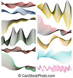 komplet, linearny, twój, tło., projektować, biały, chorągwie