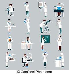 komplet, litery, naukowcy