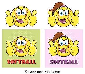 komplet, Litery, zbiór,  Softball