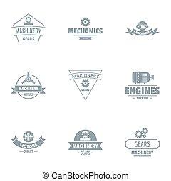 komplet, logo, styl, mechanizm, prosty