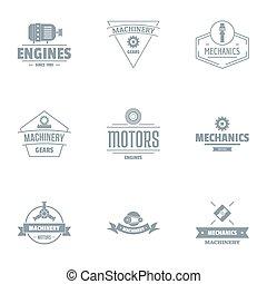 komplet, logo, styl, motor, prosty