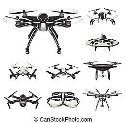 komplet, logotype, logo, zbiór, fpv, ilustracja, odizolowany, wektor, rc, urządzenie, quadcopter, truteń