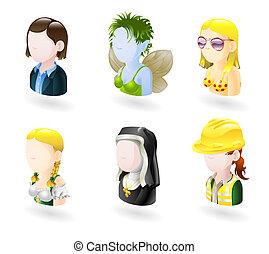 komplet, ludzie, avatar, ikona, internet