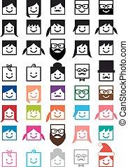 komplet, ludzie, avatars, wektor, użytkownik, ikona