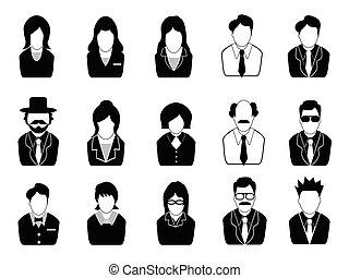 komplet, ludzie handlowe, ikony