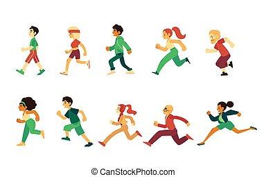komplet, ludzie, młody, wyścigi, wektor, dorosły, senior, sport
