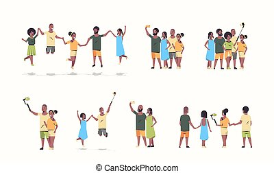 komplet, ludzie tła, fotografia, selfie, smartphone, grupa, amerykanka, aparat fotograficzny, biały, płaski, pełny, mężczyźni, zbiór, wtykać, litery, używając, poziomy, przyjaciele, rysunek, kobiety, wpływy, długość, afrykanin, zabawa, posiadanie